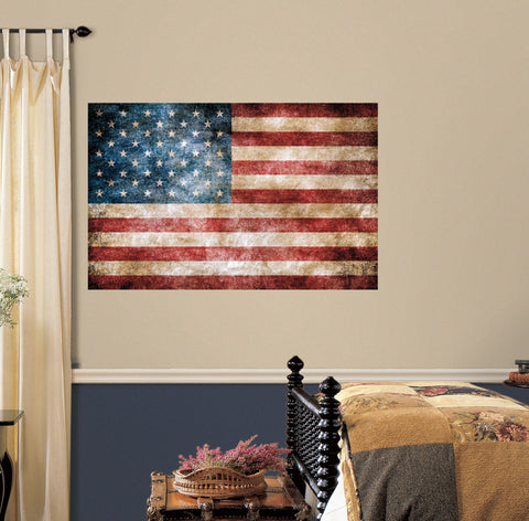 Vintage American Flag Peel and Stick Giant Wall Decals image