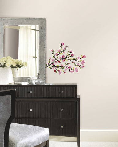 Pink Blossom Branches Peel and Stick Wall Decals image