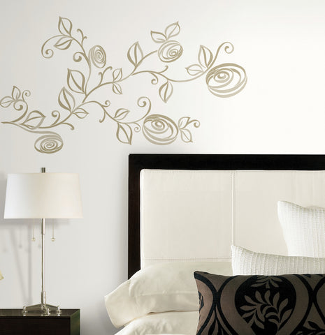 Stylized Roses Peel and Stick Wall Decals image