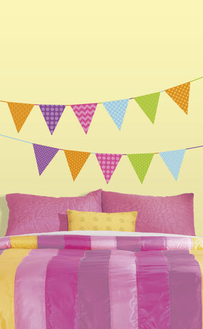 Patterned Pennants Peel and Stick Wall Decals image