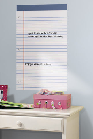 White Legal Pad Dry Erase Peel and Stick Wall Decals image