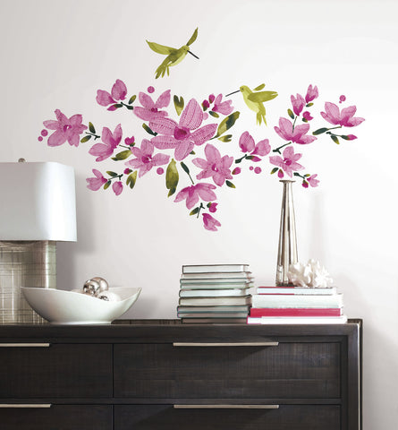 Pink Flowering Vine Peel and Stick Wall Decals image