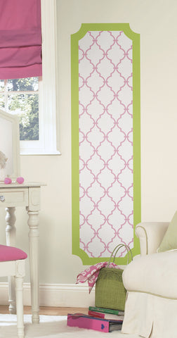 Pink and Lime Trellis Peel and Stick Deco Panel image