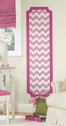 Pink and White Chevron Peel and Stick Deco Panel image