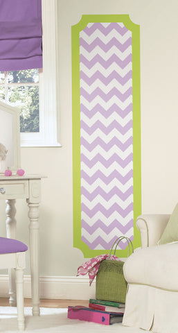 Lime and Lilac Chevron Peel and Stick Deco Panel image