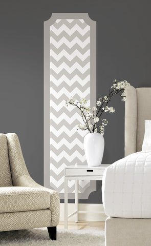 Gray and White Chevron Peel and Stick Deco Panel image