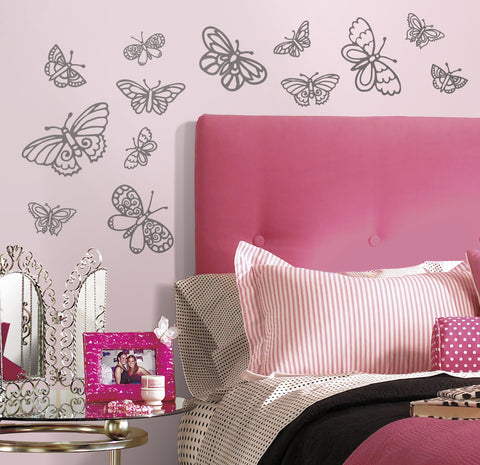 Glitter Butterflies Peel and Stick Wall Decals image