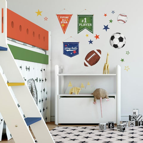 SPORTS BALLS PEEL AND STICK WALL DECALS