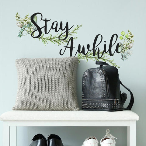 STAY AWHILE QUOTE PEEL AND STICK WALL DECALS