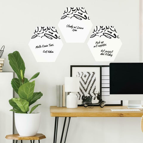 DOODLE DRY ERASE HEXAGON PEEL AND STICK WALL DECALS