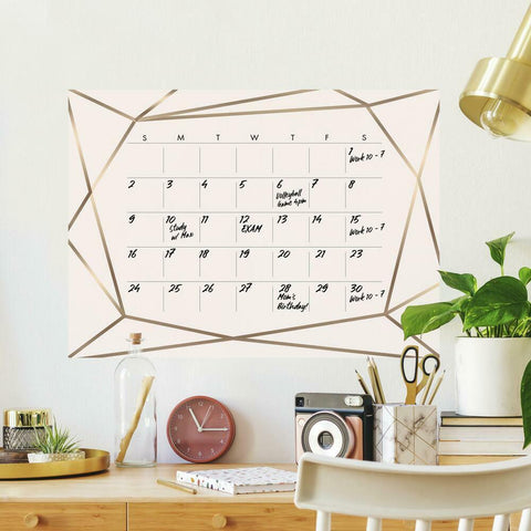 BLUSH BEAUTY DRY ERASE CALENDAR PEEL AND STICK GIANT WALL DECALS