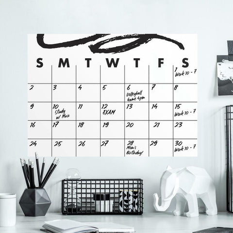 DOODLE DRY ERASE CALENDAR PEEL AND STICK GIANT WALL DECAL