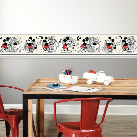 VINTAGE DISNEY MICKEY MOUSE PEEL & STICK WALLPAPER BORDER
