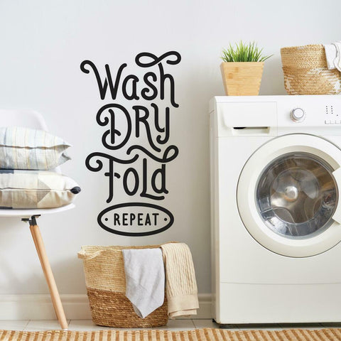 WASH DRY FOLD REPEAT PEEL AND STICK WALL DECALS