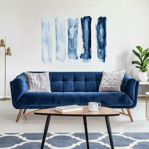 BLUE WATERCOLOR BRUSH STROKES PEEL AND STICK GIANT WALL DECALS