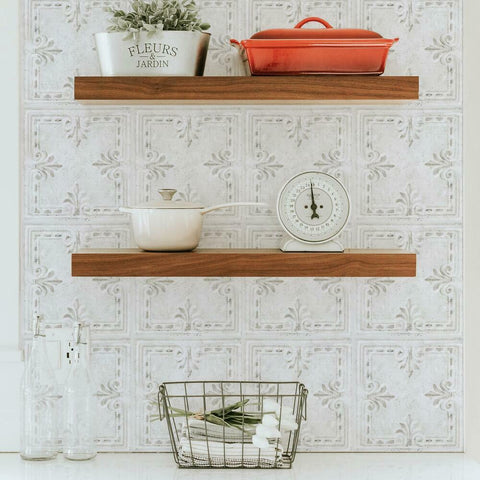 WHITE TIN TILE BACKSPLASH PEEL AND STICK GIANT WALL DECALS