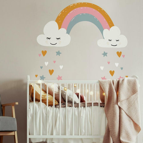 RAINBOW AND HEARTS PEEL AND STICK GIANT WALL DECALS