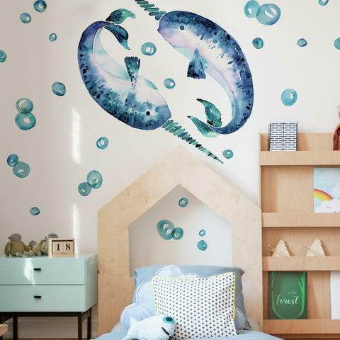 CATCOQ NARWHAL GIANT PEEL AND STICK WALL DECALS