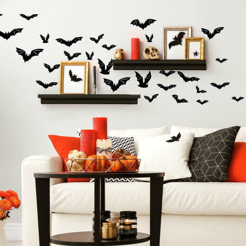 HALLOWEEN BLACK BATS PEEL AND STICK WALL DECALS