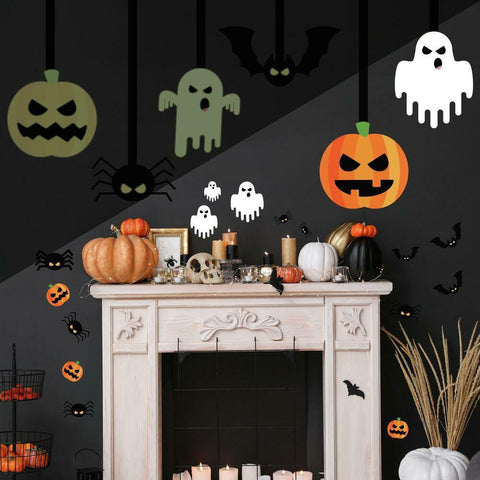HALLOWEEN GLOW IN THE DARK PEEL AND STICK GIANT WALL DECALS