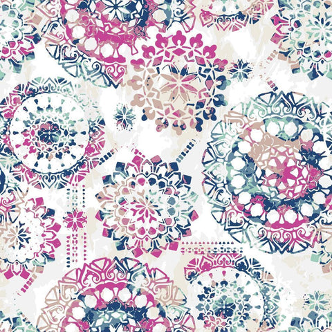 BOHEMIAN PINK/BLUE PEEL & STICK WALLPAPER