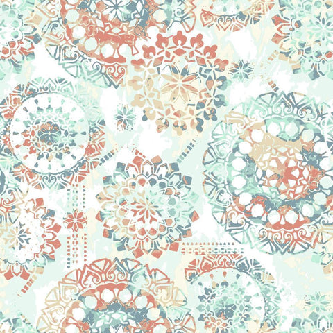 BOHEMIAN ORANGE/BLUE PEEL & STICK WALLPAPER