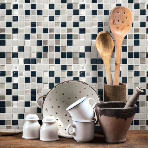 METALLIC CHECKERBOARD TILE PEEL AND STICK BACKSPLASH