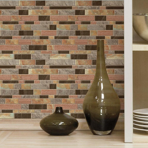 MODERN LONG STONE TILE PEEL AND STICK BACKSPLASH