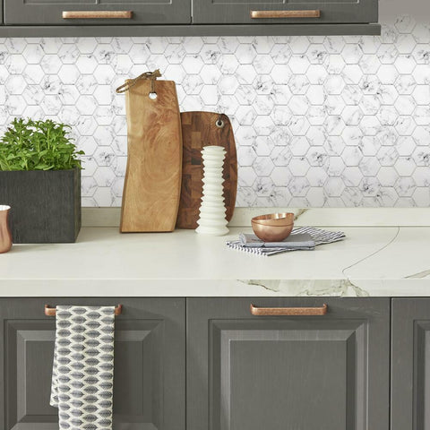 CARRARA MARBLE HEXAGON PEEL AND STICK BACKSPLASH