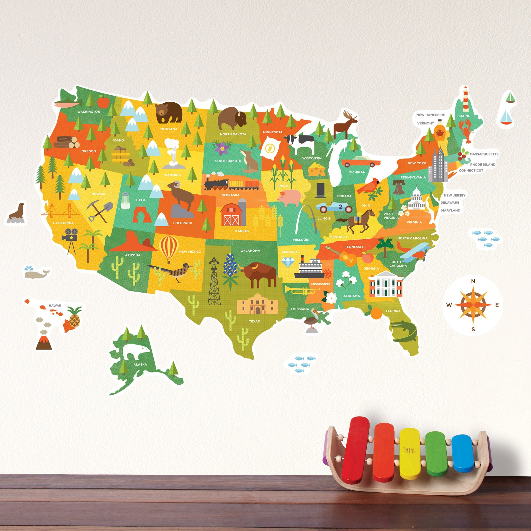 United States Map Wall Decal | WallDecals.com