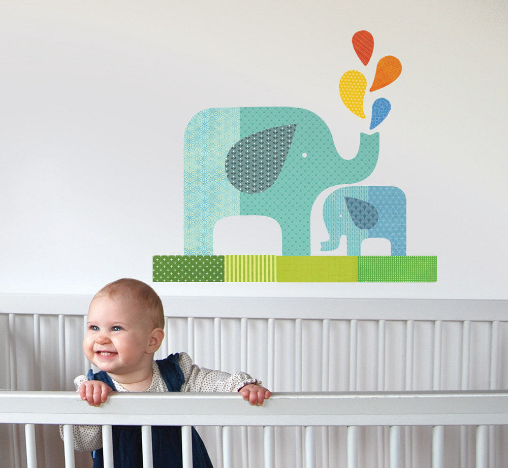 Blue elephant baby wall decal walldecals blue elephant baby wall decal amipublicfo Images