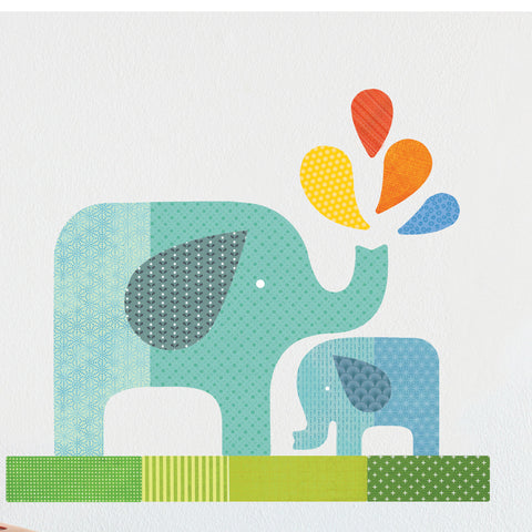 Blue Elephant Baby Wall Decal