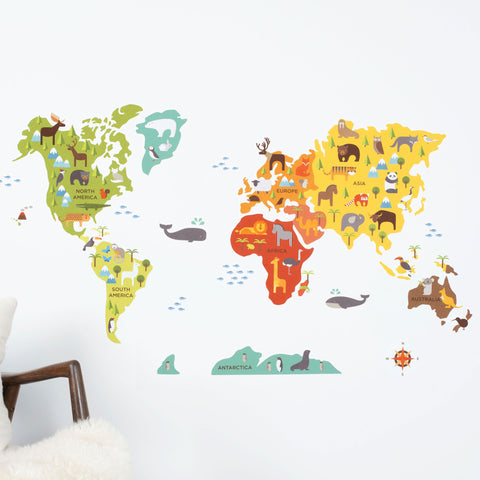 World Map Wall Decal | WallDecals.com