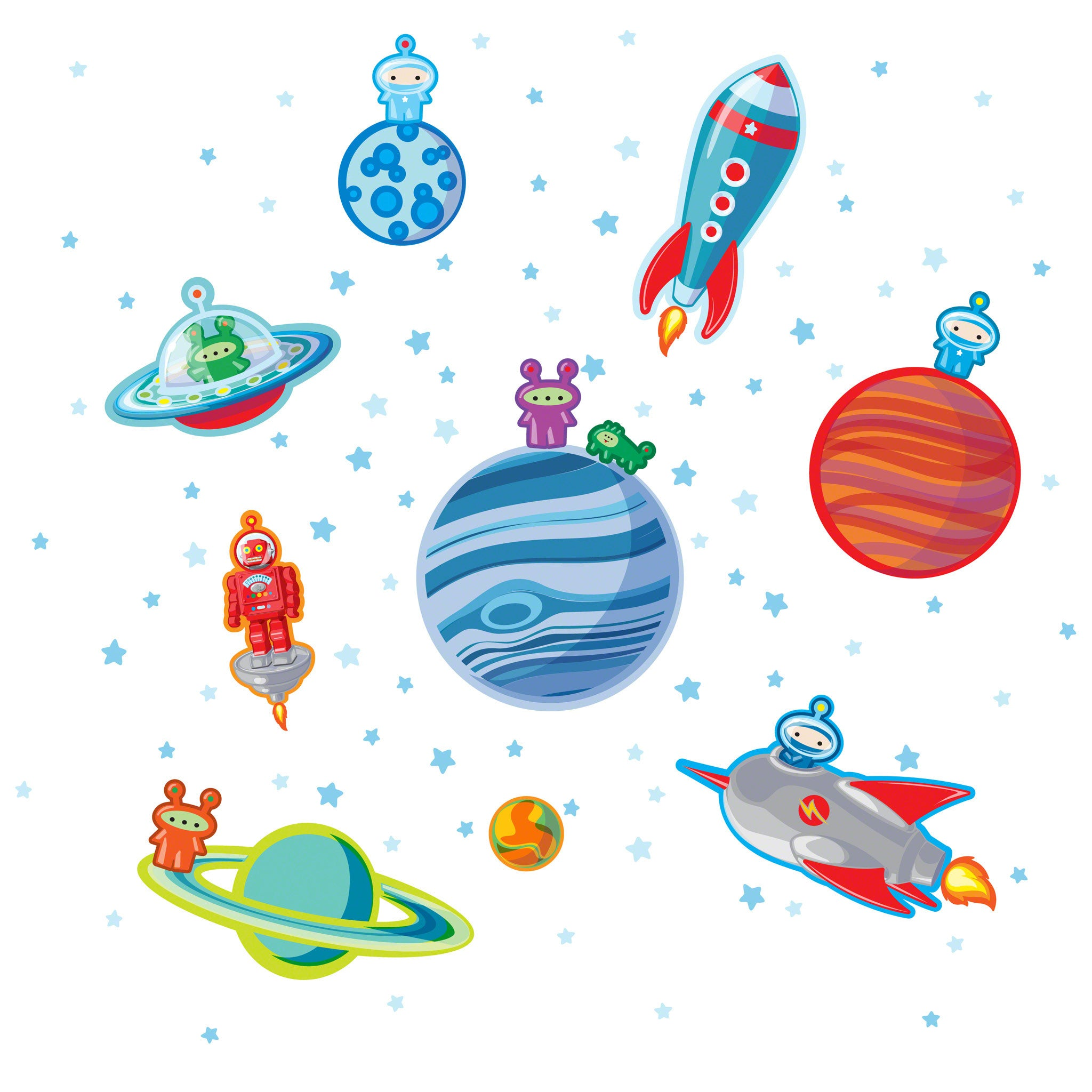 Happy space wall decal for Space decals
