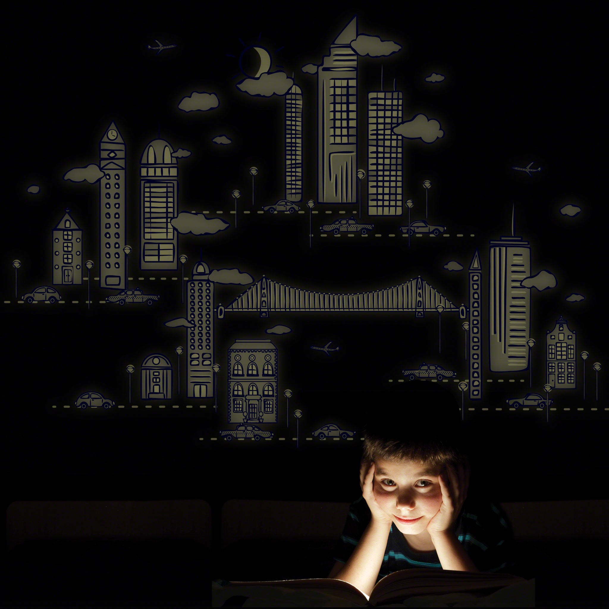 nightscape glow in dark wall decal walldecals com nightscape glow in dark wall decal