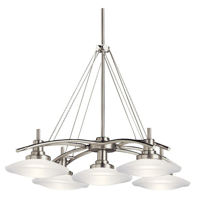 Structures(TM) 5 Light Halogen Chandelier Brushed Nickel