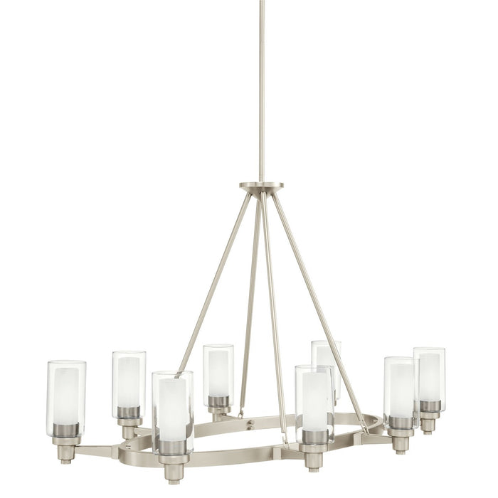 Circolo 8 Light Chandelier Brushed Nickel