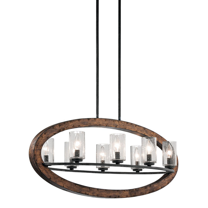 Grand Bank(TM) Oval 8 Light Chandelier Auburn Stain