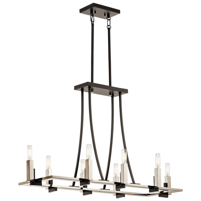 Bensimone Linear 8 Light Chandelier Black