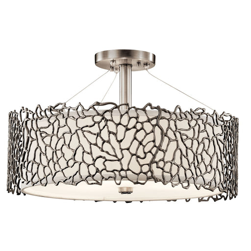 Silver Coral 3 Light Convertible Pendant Classic Pewter