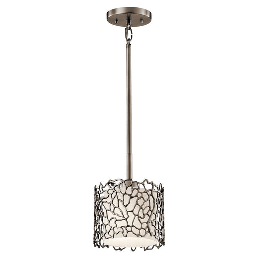 Silver Coral 1 Light Mini Pendant - Classic Pewter