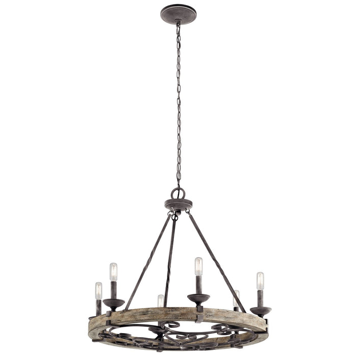 Taulbee 6 Light Chandelier Weathered Zinc