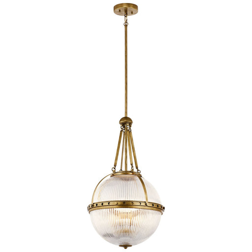 Aster 3 Light Pendant in Natural Brass