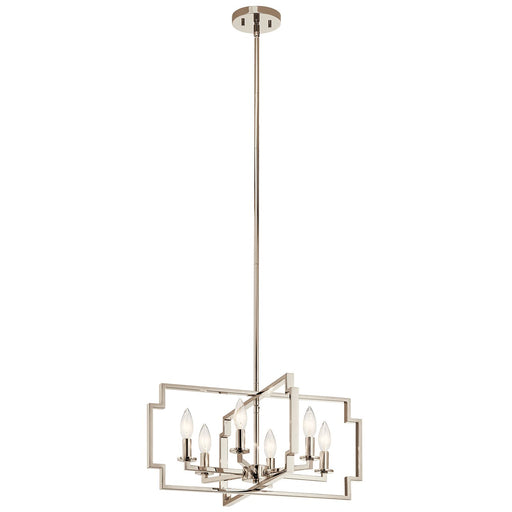 Downtown Deco(TM) 6 Light Convertible Chandelier Polished Nickel(TM)
