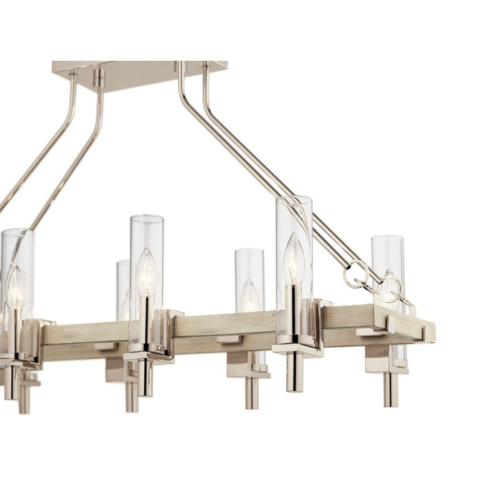 Telan 6 Light Linear Chandelier White Washed Wood