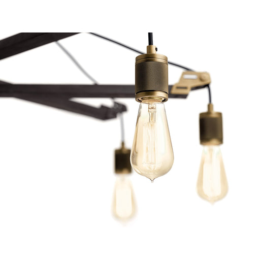Iron 6 Light Chandelier Vintage Gray