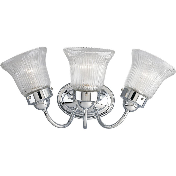 Economy Fluted Glass Three-Light Bath & Vanity