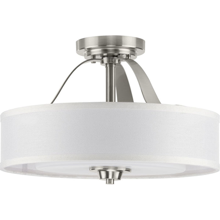 Kene Collection Brushed Nickel Two-Light Semi-Flush Convertible