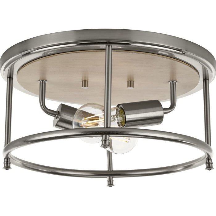 "Durrell Collection Two-Light Brushed Nickel 13"" Flush Mount"
