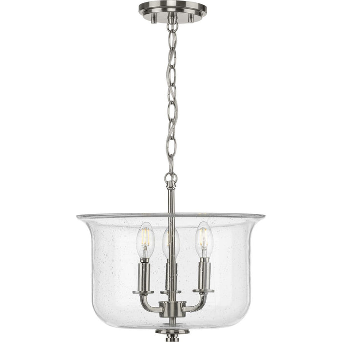 Winslett Collection Brushed Nickel Three-Light Semi-Flush Convertible